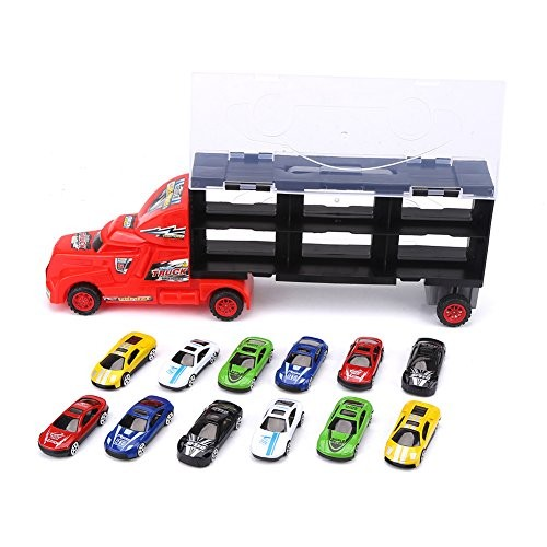 GLOGLOW Car Carrier Truck Toy Set Car Transporter Model Car Collection Include 12 Alloy