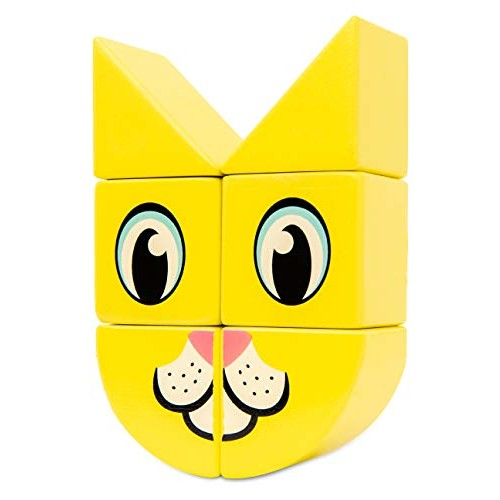 Itty Bitty City 6 Pc Magnetic Wooden Building Block Puzzle Set Cat and Dog Animal Print Design Winner of Dr Toys Best Picks Homeschool Toy Boredom Busters for Kids