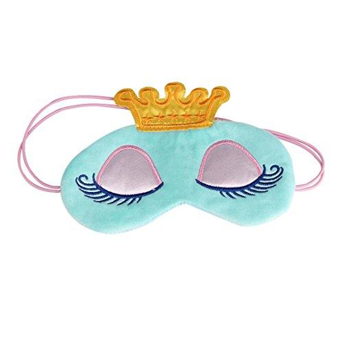 Sleep MasksLavany Cute Face Crown Style Shading Eye Masks for Sleeping Travel Shift Work NapsNight Blindfold Eyeshade Men Women Light Blue