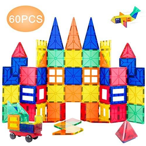 ORRENTE Magnetic Blocks Building Set for Tiles Educational STEM Toys Kids Toddlers 60 Piece