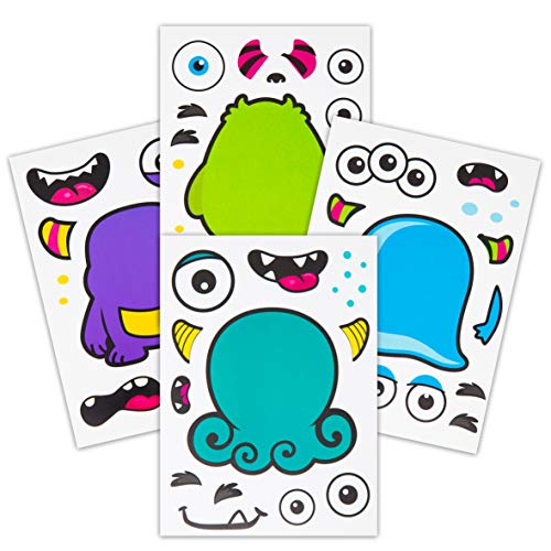 24 Make A Monster Stickers For Kids – Themed Birthday Party Favors & Supplies Fun Craft Project Children 3+ Let Your Get Creative Design Their Favorite