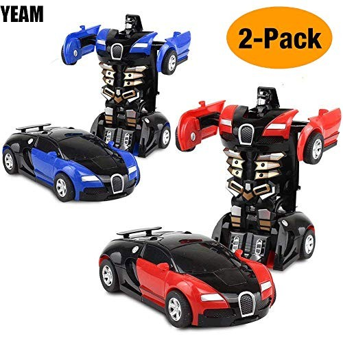YEAM Toy Cars 2 Packs Toy Vehicle Robot for Kids Deformation Play Vehicle Tranform