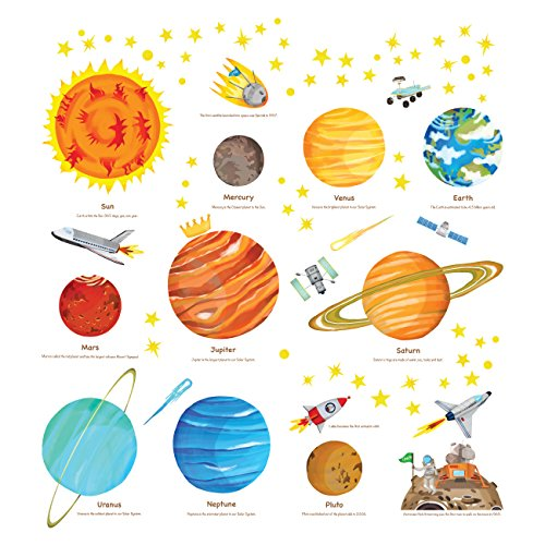 DECOWALL DS-8018 The Solar System Kids Wall Stickers Decals Peel and Stick Removable for Nursery Bedroom Living Room Small