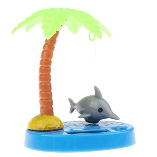 Baoblaze Cute Animal Solar Powered Dancing Dolls Grey Dolphin and Coconut Tree Toy Home Decor Kids Birthday Gift