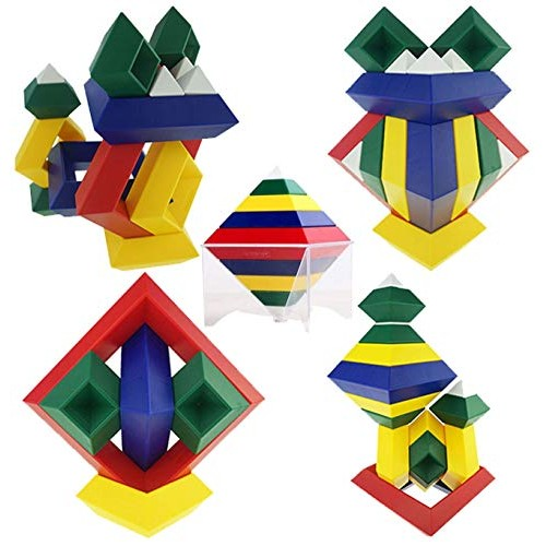 AWESOME CHOICE Pyramid Stacking Building Blocks 3D Puzzle Brain Teasers for Kids and Adults Creative Early Childhood Educational Toys Preschool Assembled Stackable Nestable Imagination Set
