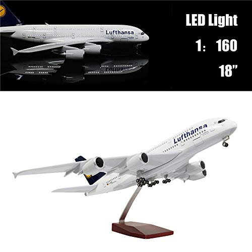 24-Hours 18 1 160 1 Scale Model Airplane Lufthansa A380 with LED Light Touch or Sound Control for Business Gift