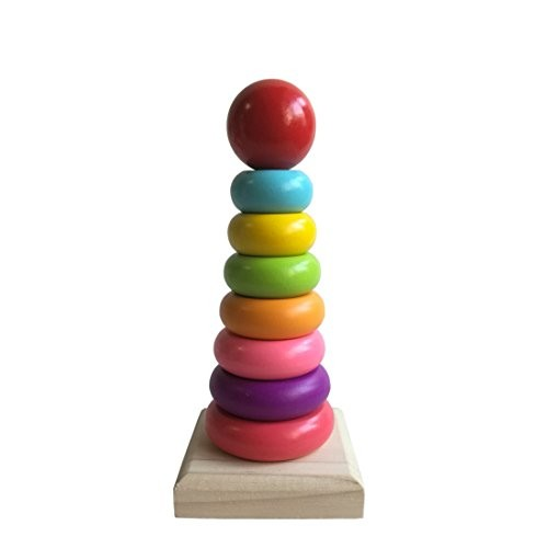 Habudda Wooden Stacking Blocks Baby Building&Stacking Toys RainBow Tower Nursery Decal Chunky Block Set For Toddlers Games Toy Color Recognition
