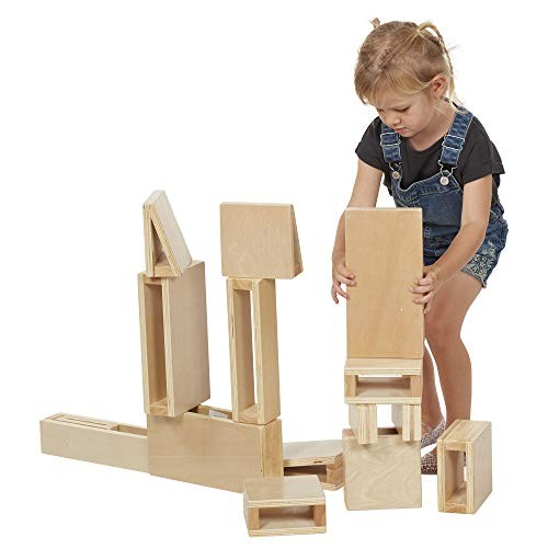 ECR4Kids Junior Hollow Block Play SetLightweight Wooden Building Blocks for Kids' Educational Toy with Assorted Shapes Natural Finish 16 Pieces