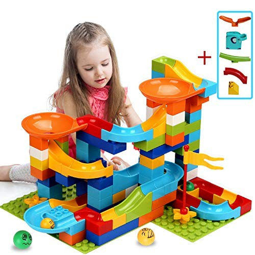 COUOMOxA Marble Run Building Blocks Classic Big STEM Toy Bricks Set Kids Race Track Compatible with All Major Brands 110 PCS Various Models for Aged 34568 Upgrade 2 in1