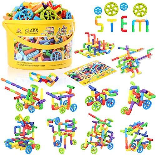 WishaLife 250 Pieces Tube Toys Sensory Toy Pipe Locks Set Tubular Spout Construction Building Blocks Educational STEM Learning with Wheels for Kids Boys Girls
