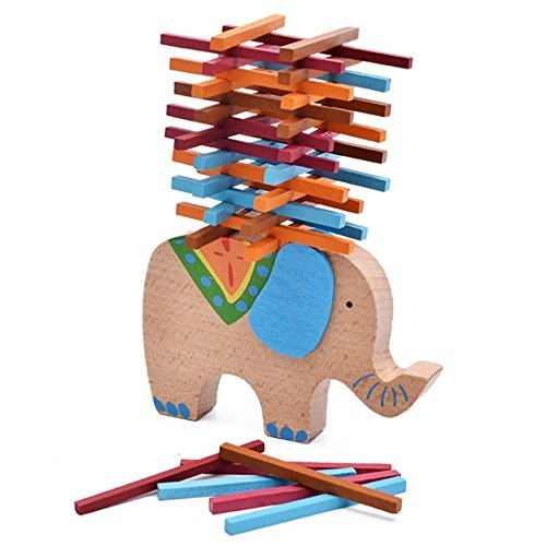 Elloapic Elephant Shape Wooden Stacking Building Blocks Colored Sticks Balance Puzzle Toy for Children's Hands-on and Parent-Child Game