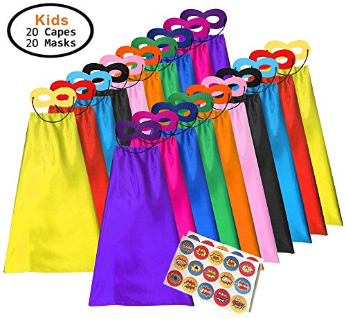 ADJOY Superhero Capes and Masks for Kids – Halloween Party Dress Up Super Hero Costume 20 Packs