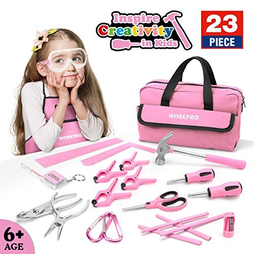 WORKPRO 23-piece Girls Tool Kit with Real Hand Tools Safety Goggles Storage Bag Home DIY & Woodworking – Pink Age 6+