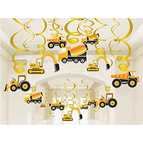 LINDOO 30PCS Construction Zone Party Supplies – Car Birthday Hanging Swirl Decorations