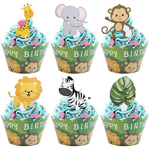 Woodland Jungle Animals Cupcake Toppers and Wrappers Kids Party Cake Decorations Set of 24