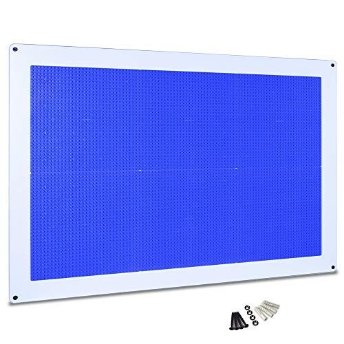 Creative QT Play-Up Wall Panel – Large Building Brick Play Pre-Assembled Compatible with All Major Brands of Interlocking Blocks Vertical Surface Blue 24 inch x 34