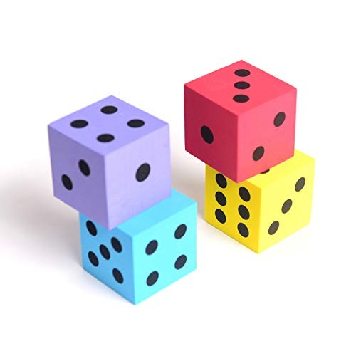 Foam dot dice Large 4pcs Pack Square Assorted Colors – Great for Playing Games Kids Boys and Girls Party Favors Bag Stuffers Fun Toy Gift Prize Piata Fillers