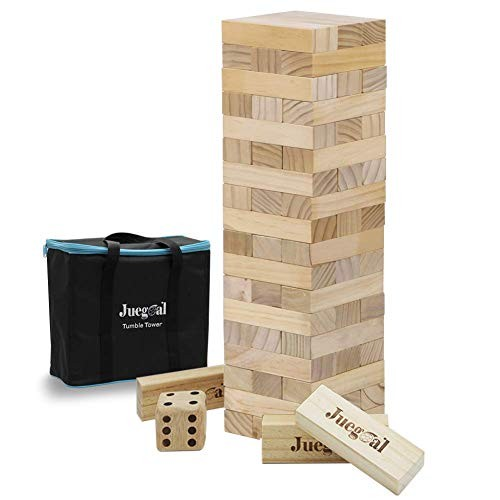 Juegoal 54 Pieces Giant Tumble Tower Blocks Game Toppling Wood Stacking with 1 Dice Set Canvas Bag for Adult Kids Family