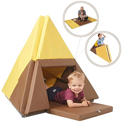 ECR4Kids Tent Canoe and Tumbler Too – Unique Transforming Activity Play Mat for Toddlers Kids Chocolate Yellow