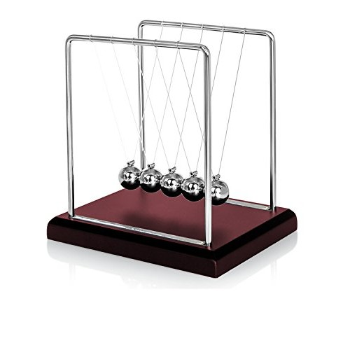 Oruuum Classic Newton Pendulum Ball – Brown Base Balance Desktop Entertainment Gadgets Medium