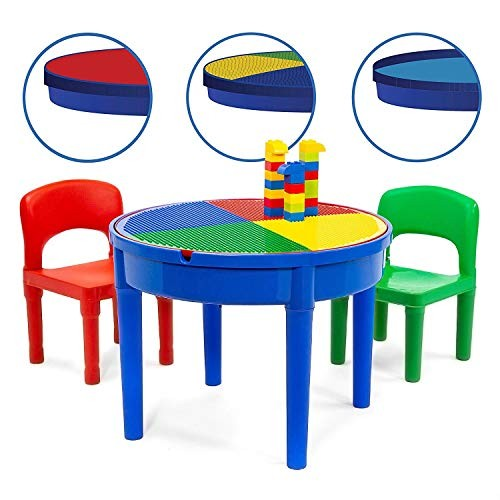 Kids Multi Activity Table Set – 25 Pieces Large Building Blocks Compatible Bricks Toy Play Includes 2 Chair and Block with Storage for 3+