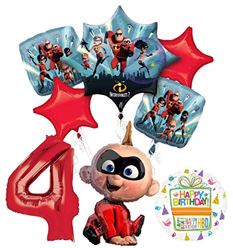 Mayflower Incredibles Jack Party Supplies 4th Birthday Balloon Bouquet Decorations