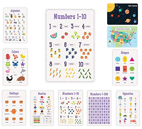 Learning Ladder Set of 10 Toddler Posters 13 x 19 Alphabet Numbers 1-10 Colors Shapes and more