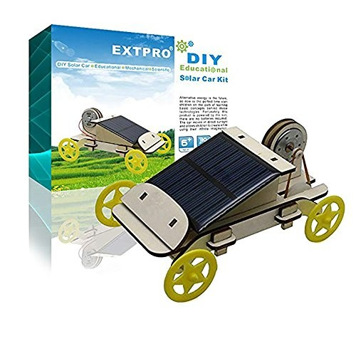 Extpro Wood Solar Car – DIY Assemble Toy Set Powered Kit Science Educational Environment-Friendly Toys for Kids Students