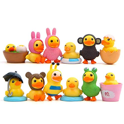 LW 12 pcs Little Yellow Duck Toys Mini Figure Collection Playset Cake Topper
