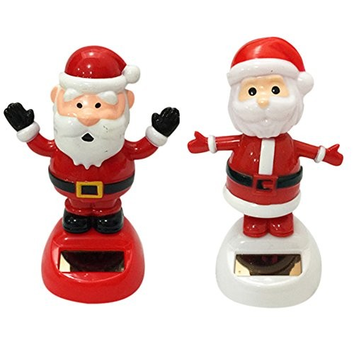 DINGJIN 2 Pcs Solar Dancing Toy Cute Santa Claus Powered Dolls Swinging Animated Bobble Dancer Car Decor Welcome