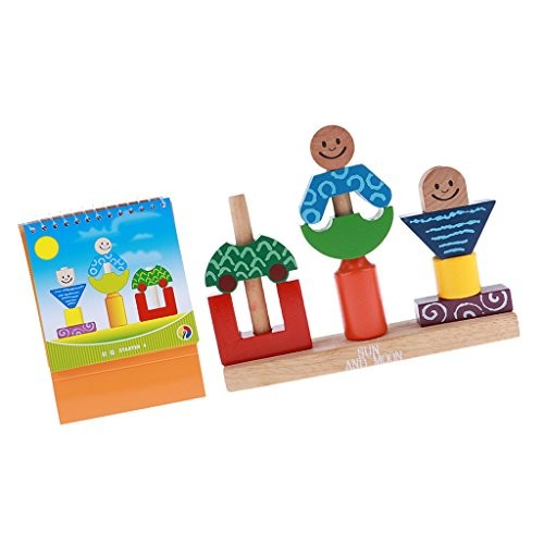 Wooden Stacking Building Blocks Kids Educational Geometric Matching Cognitive Toys