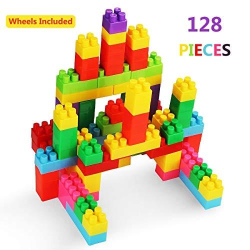 128Pcs Building Blocks Set Rexun Classic Big Bricks Toy for Toddlers Packed by Interlocking Box