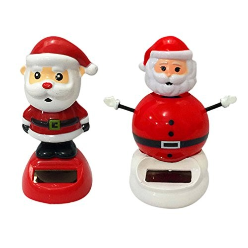 DINGJIN 2 Pcs Solar Dancing Toy Santa Claus Cute Powered Dolls Swinging Animated Bobble Dancer Car Decor