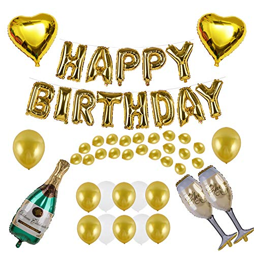VANVENE Champagne Balloon Decoration Set with HAPPY BIRTHDAY for Party Supplies