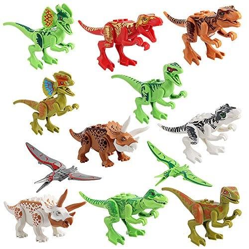 Anytec 12pcs Dinosaur Toys Set for Kids Building Blocks Miniature Action Figures