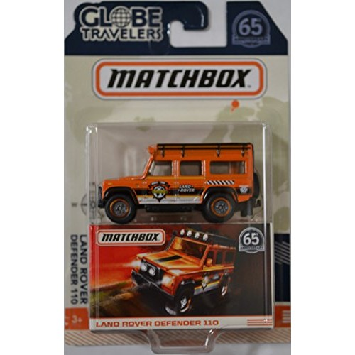 Red Land Rover Defender 110 MatchBox MBx Globe Travelers Series with Rubber Real Riders 1 64 Scale Collectible Die Cast Model Car