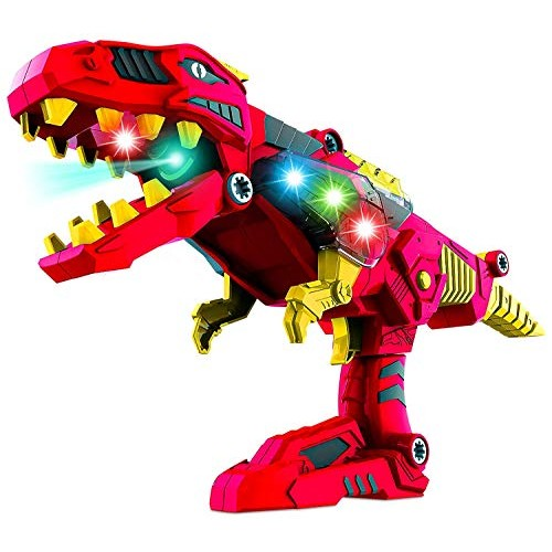 Build Me Take A Part 3 in 1 Dinoblaster Transforming Tyrannosaurus Rex Dinosaur and Toy Gun with Power Drill for Construction Lights Sounds