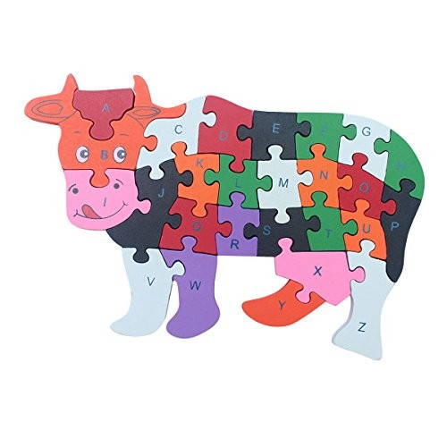 Queena Wooden Building Jigsaw Puzzle 26 English Alphanumeric Numbers Children Educational Blocks Toys Preschool Toy Cow