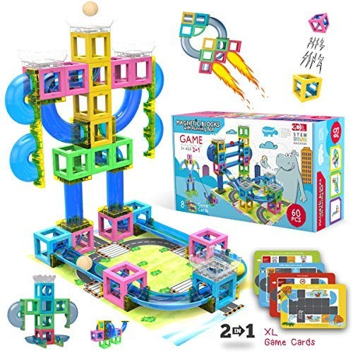 Hippococo Magnetic 3D Building Blocks with Marble Run Game New Innovative STEM Educational Toy for Durable Sturdy & Safe Construction Set Promote Kids Creativity Imagination 60 PCS