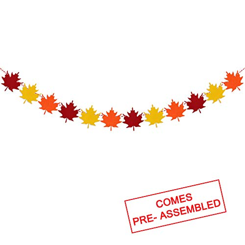 Felt Maple Leaves Garland Banner – NO DIY Fall Decor Thanksgiving Day Decorations Party Supplies