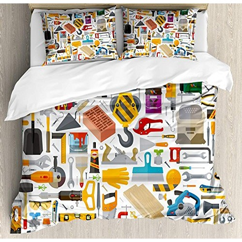 Construction Bedding Sets Tools in Cartoon Style Engineering Fixing Repairing Building 4 Piece Duvet Cover Set Quilt Bedspread for Childrens Kids Teens Adults MulticolorTwin Size