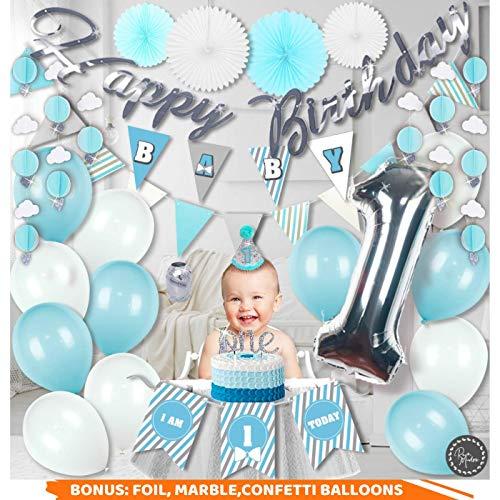RainMeadow Premium 1st Birthday Boy Decorations Blue White Silver Grey First Set Complete Kit