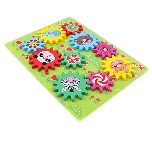 D DOLITY Wooden Gear Puzzle Board with Cute Forest Animal Kids Engineering Learning Toy