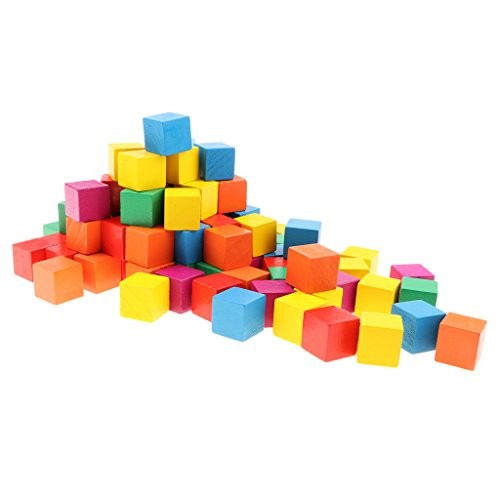 D DOLITY 100x Wooden Building Blocks for Kids Puzzle Making & Learning Math