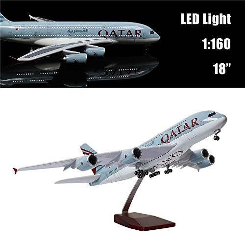 24-Hours 18 1 160 Scale Airplane Model Qatar A380 with LED Light Touch or Sound Control for Decoration Gift