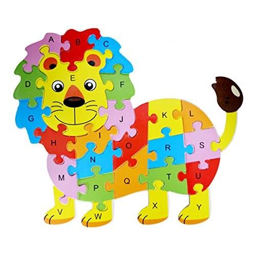 Queena Wooden Building Jigsaw Puzzle 26 English Alphanumeric Numbers Children Educational Blocks Toys Preschool Toy Lion