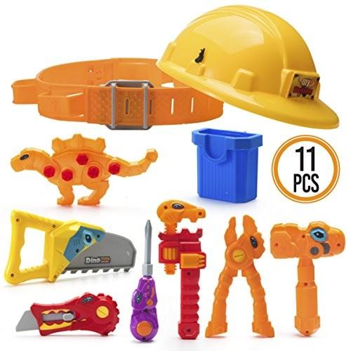 Prextex Dinosaur Themed Kids Tool Belt with Adjustable Children's Carpentry Construction Yellow Hard Hat Toys