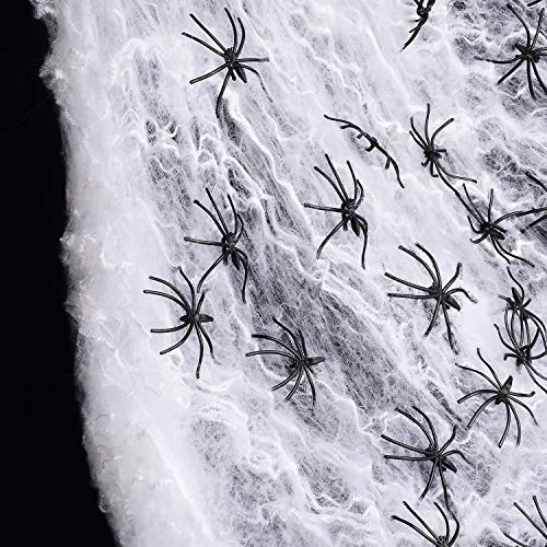 Joyseller 1000sqft Fake Spider Web Halloween Decorations 60 Extra Spiders for Indoor and Outdoor