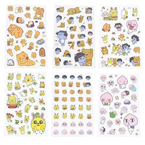 Kakao Friends Emoji Action Sticker Decorative Fun SIx Sheets Stickers