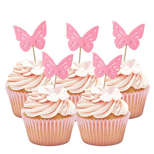 HOKPA Butterfly Glitter Cupcake Cake Toppers Baby Shower Dessert Food Picks Kids Birthday Party Decorations 20PCS Pink